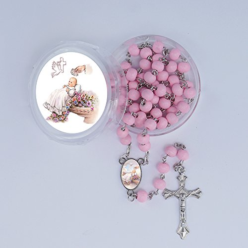 WE Baby Girl Baptism Rose Petal Scented Pink Rosary Favor - 12 PCS Wood Rosaries with Individual Gift Box and Bags/ Recuerdos de mi Bautizo