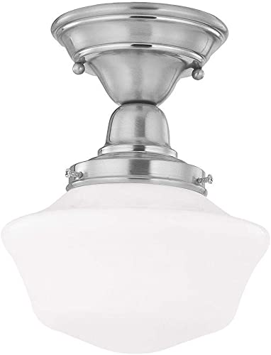 8-Inch Schoolhouse Semi-Flushmount Ceiling Light with Opal White Glass