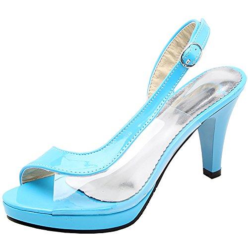 Conique Talon à Toe RAZAMAZA Sandales Femmes Blue Peep 6wUxqvZ