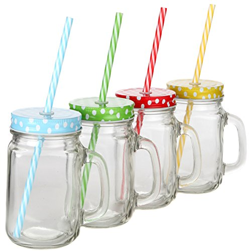 Lily's Home Old Fashioned Mason Jar Mugs with Handles, Polka Dot Lids and Matching Reusable Plastic Straws, Great as Old Fashion Drinking Glasses at BBQs and Parties, Clear (16 oz. Each, Set of 4) by Lilyshome (Image #3)