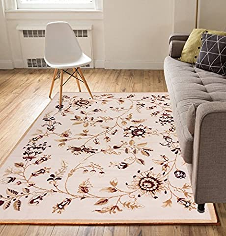 Chatsworth Fields Gold 5x7 ( 5' x 7' ) Nature Garden Floral European Transitional Thin Value Area Rug Perfect for Living Room Dining Room Family (Flower Living Room Rug)