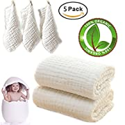 Baby Bath Towels and Washcloths Set Also For Baby Swaddle Blanket and Baby Face Cloth, (5 PC Value Pack ) Super Soft 100% Organic Muslin Cotton - Ideal for Baby Care Gift Sets By MUKIN