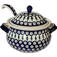 Polish Pottery Soup Tureen with Ladle Zaklady Ceramiczne Boleslawiec 1004/1367-56 Peacock Pattern, 13.4 cups