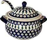 Polish Pottery Soup Tureen with Ladle Zaklady Ceramiczne Boleslawiec 1004/1367-56 Peacock Pattern, 13.4 cups