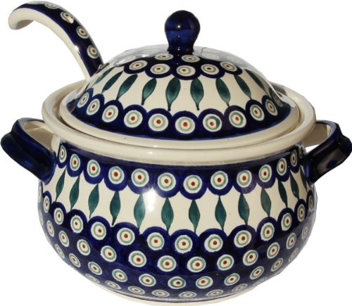 Polish Pottery Soup Tureen with Ladle Zaklady Ceramiczne Boleslawiec 1004/1367-56 Peacock Pattern, 13.4 cups - Polish Pottery Soup Tureen
