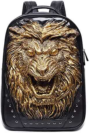 5be0b9b6e5 It s In The Bag 3D Lion Leather Backpacks Fashion Men School Travel  Computer Backpack Bags Personality