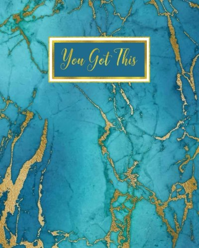 You Got This: Marble Bullet Journal, Inspirational Verse Blue Gold Marble with Ocean Blue Hues, Marble Agate Quote Notebook Journal, 160 Dot Grid ... Gift for Teens, Men, Journal Gift for Women