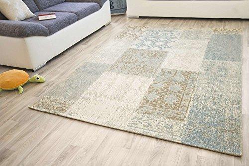 Designer Teppich Modern Dalarna Design in Vintage Grau, GUT Siegel Zertifiziert, Größe: 80x150 cm