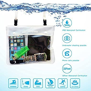 [MPAC B45 waterproof pouch] Smartphone dry bag for iPhone6, Galaxy S6, S5,wallet, watch up to 7.0 inch, Transparent Window, 33Feet IP68 waterproof, for Swimming, Boating, Fishing, White
