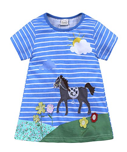 Fashspo Girls Cotton Short Sleeve Summer Pony Horse Casual Cartoon Appliques Striped Jersey Dresses, 2T/ 2Years