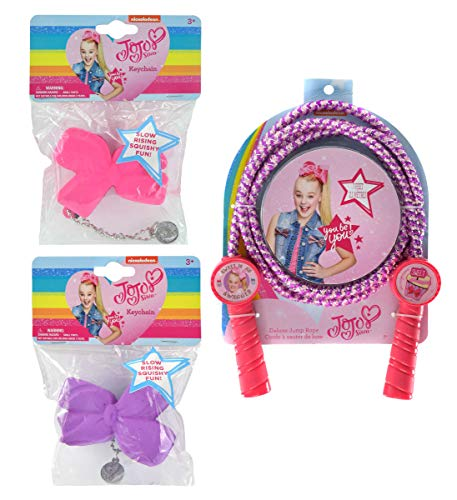 Mozlly Value Pack - Nickelodeon JoJo Siwa Deluxe Jump Rope and Slow Rising Squishy Hair Bow Keychains - 2.5 inch - Collectible Fashion Accessories (2pc Set) (2 Items) (Slow Jo Nylon)