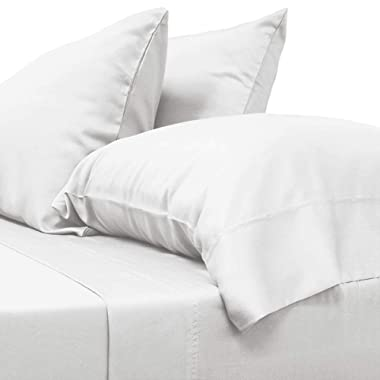Cariloha Classic Bamboo Sheets 4 Piece Bed Sheet Set - Softest Bed Sheets and Pillow Cases - Lifetime Protection (King, White)