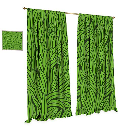 cobeDecor Green Patterned Drape for Glass Door Hand Drawn Style Grass Pattern Abstract Simplistic Environmental Growth Eco Waterproof Window Curtain W72 x L96 Lime Green Emerald