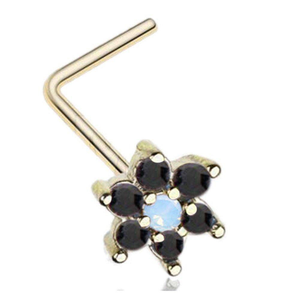 20g IP Gold Stainless Steel 8mm Opal Gem Flower L-shaped Nose Rings (Black)