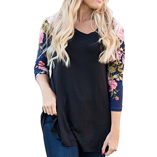 YANG-YI Women Casual Floral Splice Stripe Printing O-Neck Pullover Blouse Tops T-Shirt (4XL, (Flannel Retro Flowers)
