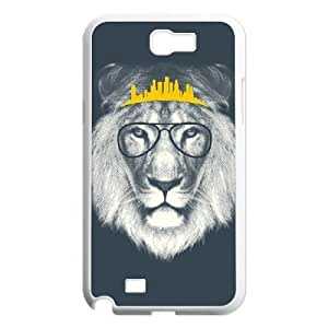 Custom Colorful Case for Samsung Galaxy Note 2 N7100, Hipster Lion Cover Case -R688776