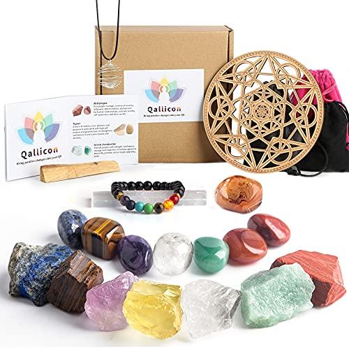 Healing Crystals Set,Qallicon 20PCS Chakra Crystals Kit Include 7 Raw & Tumbled Chakra Stones, Lava Bracelet, Selenite,Cage Necklace, Palo Santo, Banded Agate, Crystal Grid for Meditation,Yoga.