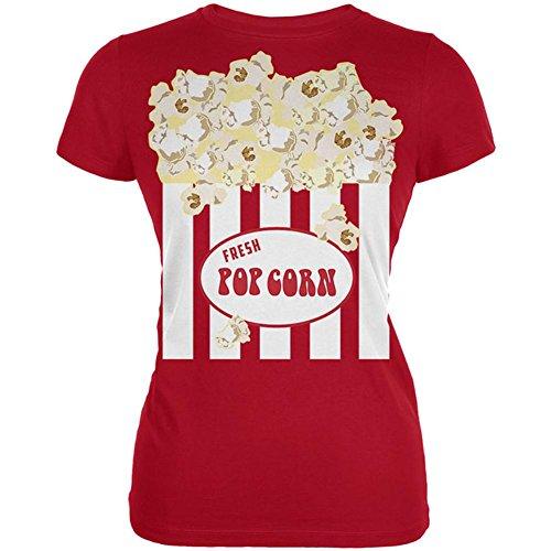 [Halloween Popcorn Costume Juniors Soft T Shirt Red MD] (Popcorn Costume)