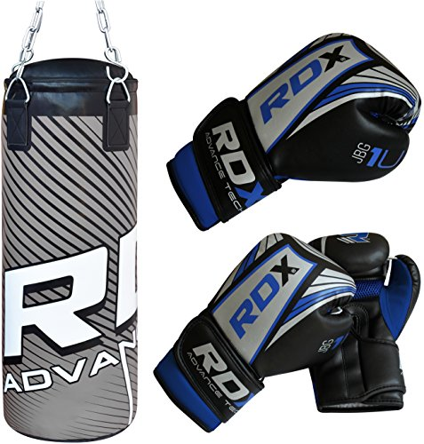 RDX Kids Punching Bag Filled Set Junior Kick Boxing Heavy MMA Training Youth Gloves Punch Mitts Hanging Chain Ceiling Hook Muay Thai Martial Arts 2FT