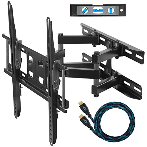 Cheetah Dual Articulating Arm TV Wall Mount Bracket for 20-65″ TVs up to VESA 400 and 115lbs Only, Mounts on Studs up to 16″ Only and Including Twisted Veins 10′ HDMI Cable & 6″ 3-Axis Magnetic Level