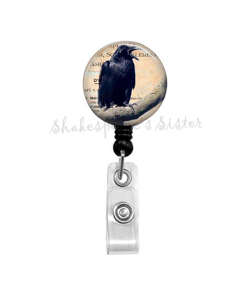 Black Crow on Branch - Badge Reel - Black Raven - Gothic - Retractable Badge - Crow ID Holder - Nurse Badge Reel - Office Badge Reel