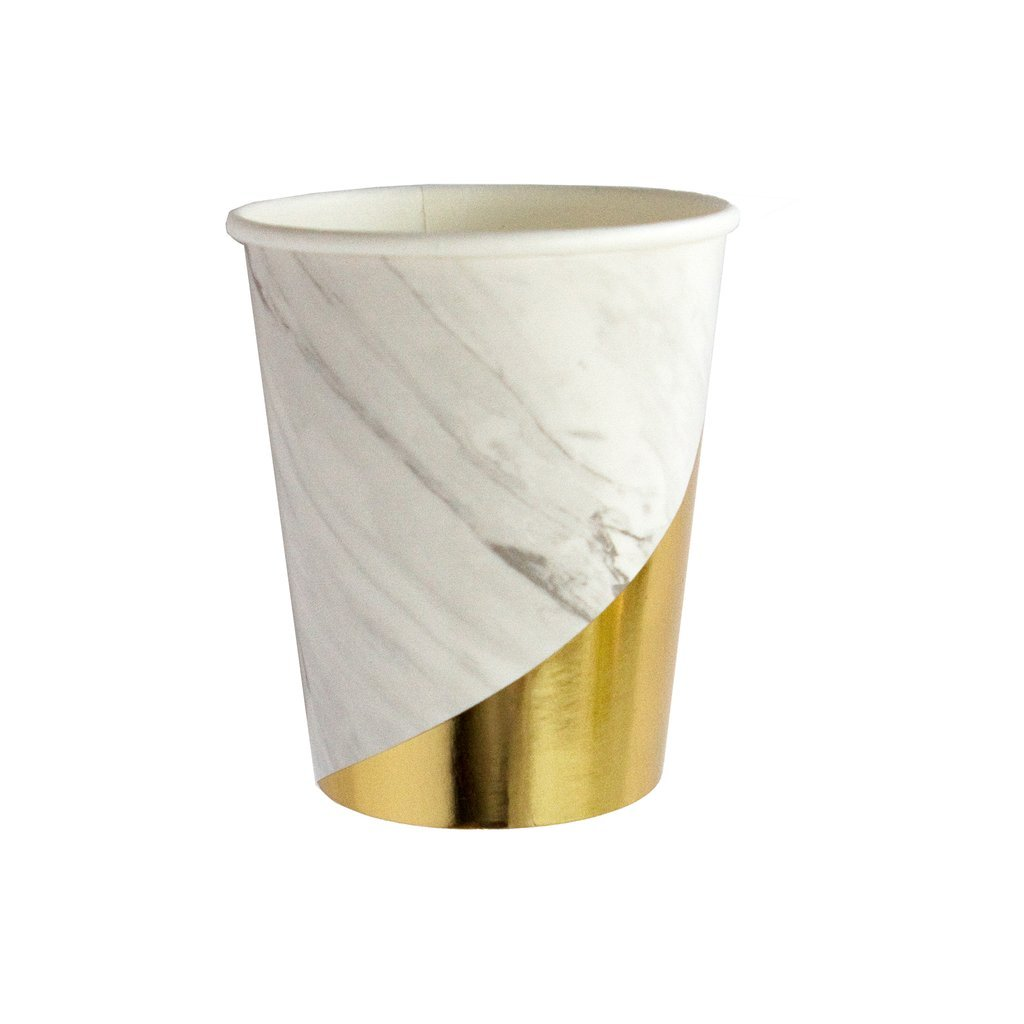 White Marble w Gold Foil Paper Cups - Birthday, Wedding, Showers Party Disposable Cups - Harlow & Grey Blanc (24 Count)