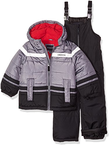 (London Fog Boys' Little 2-Piece Snow Pant & Jacket Snowsuit, Black Print/red pop, 5/6 )