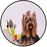 Printing Round Rug,Yorkie,Yorkshire Terrier with Stylish Hairdressing Equipment Mirror Scissors Decorative Mat Non-Slip Soft Entrance Mat Door Floor Rug Area Rug For Chair Living Room,Dark Brown Multi