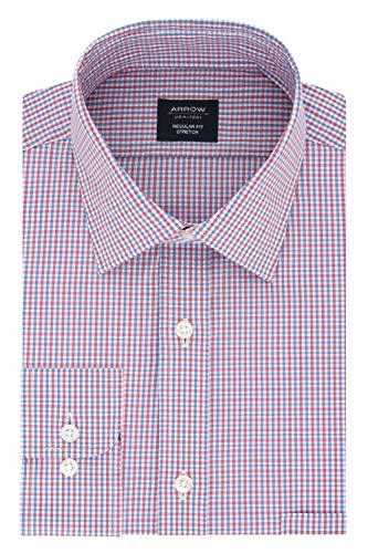 (Arrow Men's Dress Shirt Regular Fit Stretch Check, Cardinal, 16