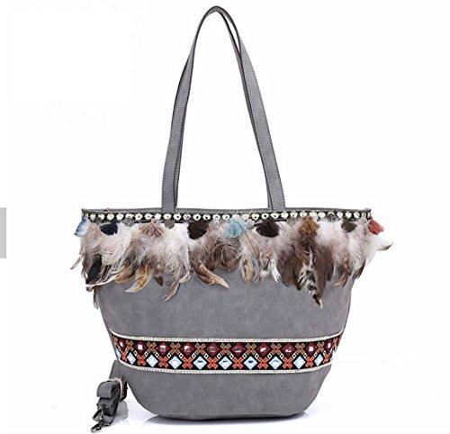 Pinchu Sac à bandoulière en relief pour femmes avec sac fourre-tout Banjara, gris marron