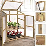 """Garden Portable Wooden Greenhouse Cold Frame for Raised Flower Planter Protection 30.0"""" Long x 22.5"""" Wide x 43"""" High"""