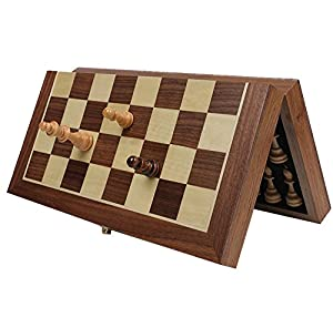 Chess Set, HOWADE 15 X 15 Inch Magnetic Foldable Wooden Chess Set Board with Chessmen Storage Slots. Unique Handmade Tournament Chess Game.