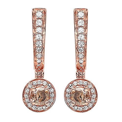 - 0.50 Carat (ctw) 14K Rose Gold Champagne & White Diamond Ladies Dangling Drop Earrings 1/2 CT