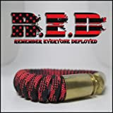 RED Friday Paracord 40 Caliber Bullet Casing Bracelet