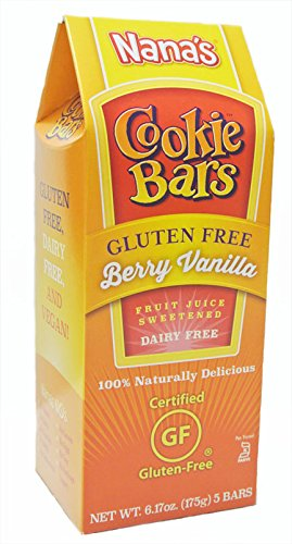 Nana's Gluten Free Berry Vanilla Cookie Bars, Net Wt 6.17 Oz. Boxes, 5-Count Bars (Pack of 8)