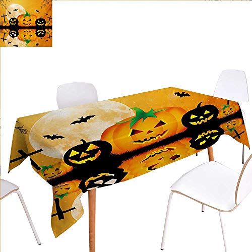familytaste Halloween Patterned Tablecloth Spooky Carved Halloween Jack o Lantern and Full Moon with Bats and Grave Lake Dust-Proof Oblong Tablecloth 50