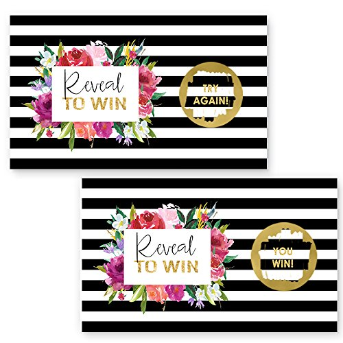 Paper Clever Party Black Stripe and Floral Scratch Off Game Cards 28 pc. by Paper Clever Party