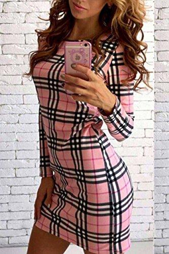 Lunghe Maniche Vestito Matita Pink A Le Quadretti Benda 7wPIwx