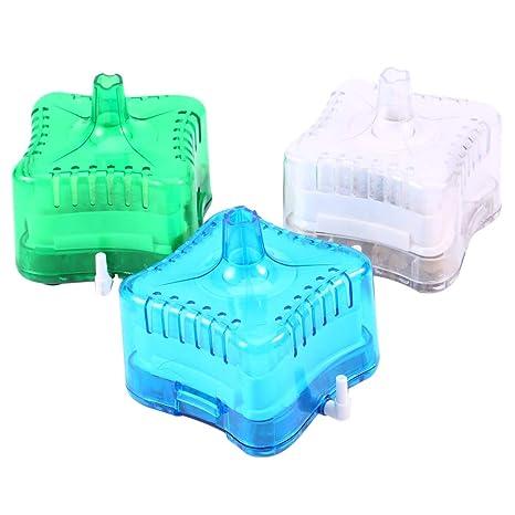 Acuario Mini Tanque de Peces neumático bioquímico Activado Filtro de Carbono (Color : Azul)