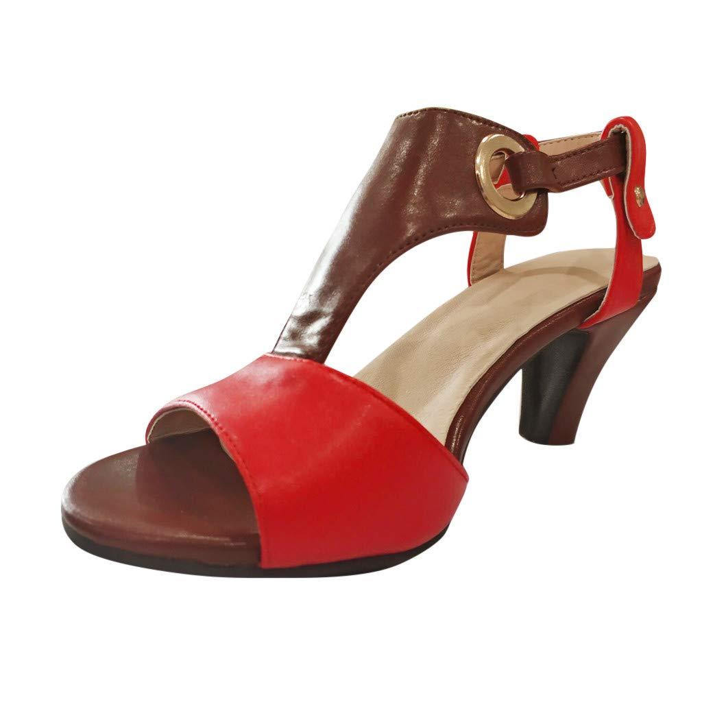 Hot Women's Open-Toe Ankle Buckle Sandals Plus Size Low Platform High Heels Sandals Party Prom Pumps Sandals Women (Red, 8.5)