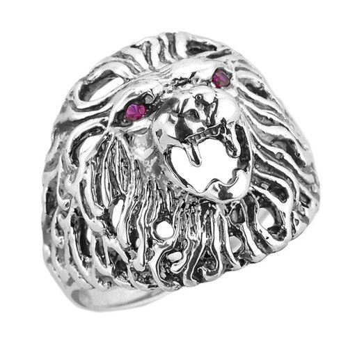 Men's 925 Sterling Silver Roaring King Lion Head Ring with Red Zircon Eyes (Size 4)
