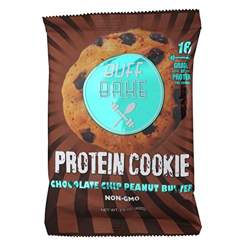 Buff Bake High Protein Cookie, Peanut Butter, 16 Grams of Protein, 2.8-ounce Cookies (Chocolate Chip) by Buff Bake