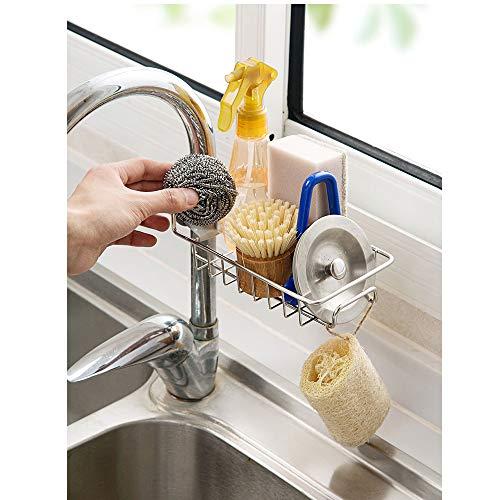 TuuTyss Stainless Steel Sink Faucet Sponge Holder Sink Caddy Organizer for Kitchen Accessories
