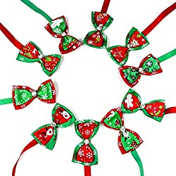 DEH 10PCS / Set Navidad Mascotas Gatos Perros Corbatas Accesorios de Boda Perros Bowtie Collar - Multicolor Mezclado