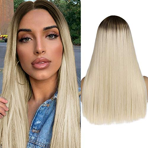 WIGER Ombre Wig Brown to Ash Blonde Medium Length Straight Cut Synthetic Hair Wig Middle Part Cosplay Party Daily Wigs for Women Girls