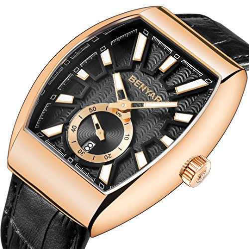 BENYAR Watches Men Fashion Business Quartz Watch with Black Leather Classical Casual Wrist Watch for Men (Gold Black) by BENYAR