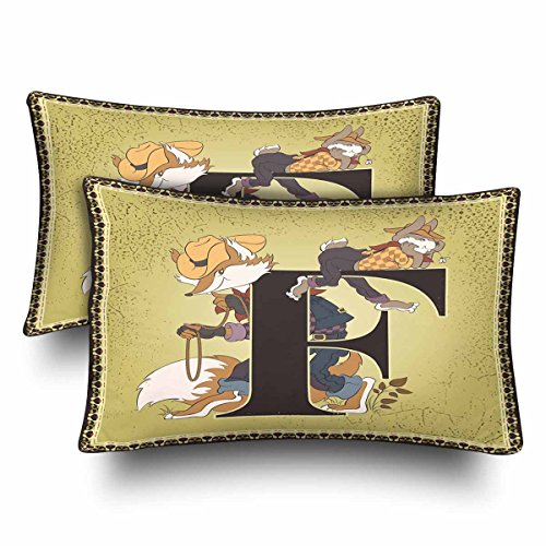 InterestPrint Vintage Children Book Alphabet Letter F Pillow Cases Pillowcase Standard Size 20x30 Set of 2, Fairy Tale Characters Rabbit Brer Fox Rectangle Pillow Covers for Home Bedding Decorative