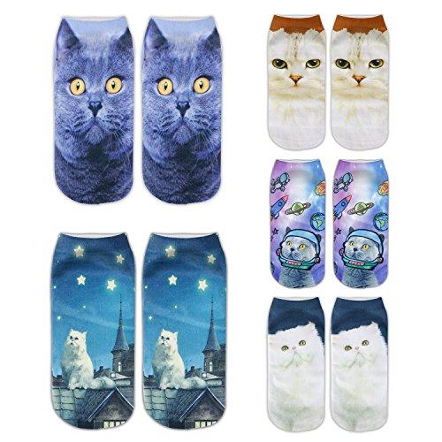 Zmart Women's Invisible Socks 3D Printed Cartoon Animal Cat Patterns Anklet Hosiery,Spacecat,US 5-9 ()