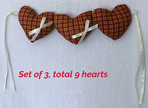 - Fabric Hearts, Quilted Stuffed Hearts, fabric heart ornament Set of 3, Woven in a Red/brown Tartan Plaid Pattern, best for mothers day deco