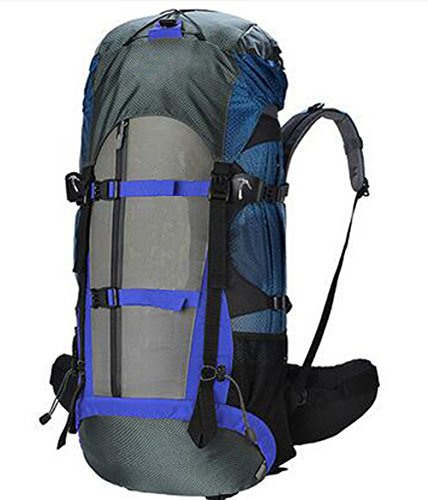 Camping bag Outdoor Bergsteigen Tasche, Multi-Funktions-Reisetasche 56-75L Große Kapazität Rucksack (25  35  72cm) 2 Farben Optional,Blau